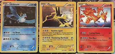 Pokemon Set of 3 Legendary Birds (Articuno/Zapdos/Moltres) Mint/Near-Mint