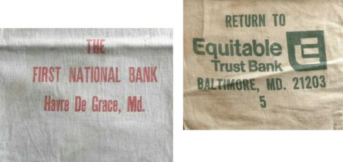 """2 VINTAGE 1960s Maryland CANVAS BANK DEPOSIT BAGS Coins Currency Money 17"""" & 15"""""""