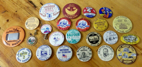 Lot of 23 North Dakota city town Centennial jubilee celebration pinback buttons