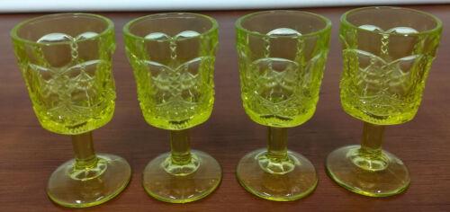"Summit McKee FRINGED DRAPE Canary Vaseline Glass 4 Cordial 3 1/4"" WINE GOBLETS"