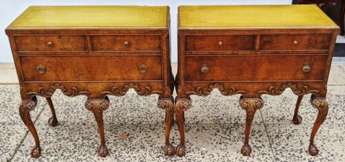PAIR Antique ENGLISH 20th C WALNUT Ball & Claw CHIPPENDALE Dresser COMMODES