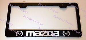 MAZDA LASER Style Black Stainless Steel License Plate Frame W/ Bolt Caps