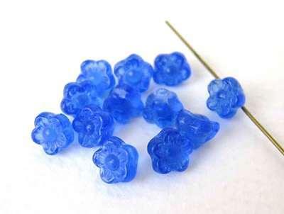 Vintage Beads Czech Glass Sapphire Blue Flower Button 7mm