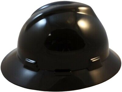 Msa V-gard Full Brim Hard Hat With Fas Trac Suspension - Black