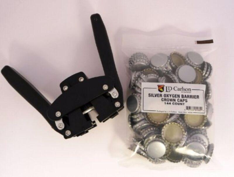Black Beauty Bottle Capper With Silver Oxygen Barrier Crown Caps-144 Count