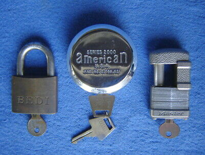 Lot Of 3 American Hidden Shackle Lock Master Shrouded Bedi Padlock Usa