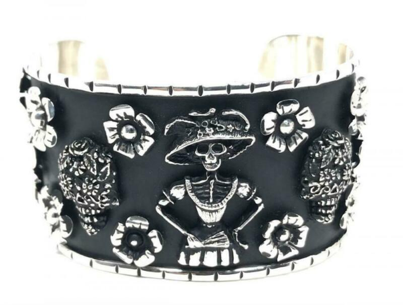 TAXCO MEXICAN 925 STERLING SILVER CATRINA DAY OF THE DEAD SKULL CUFF BRACELET