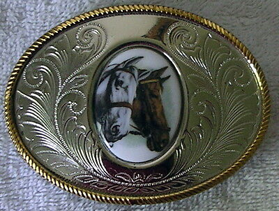Vintage Nickel Silver BELT BUCKLE with oval insert 2 HORSE HEADS