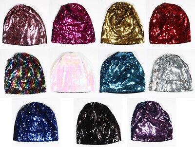 Women's Double Sequin Beanie Womens Reversible Magic Sequin Hat party disco -