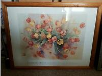Flower picture in wooden frame