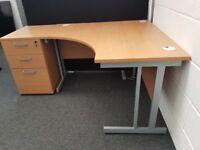 Corner Style Workstation/Desk with a Desk high Pedestal