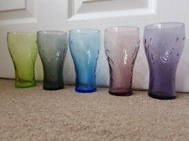 Coca Cola Multi coloured 5 glasses set