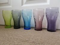 Coca Cola Multi coloured 5 glasses set