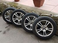 Alloy Ace 16 inch wheels 5 spoke and tyres set of 4