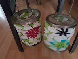 2 garden tea lights holders & Tree lights