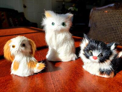 Vintage Rabbit Fur Animals 2 Cats & 1 Puppy Miniature Size Largest Cat is 3 (Largest Hare)