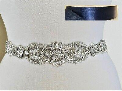 Wedding Dress Sash Belt -  Crystal Pearl Bridal Sash Belt = 17