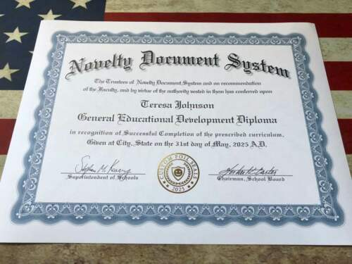 Fun Novelty Diploma  / Novelty GED Custom Foil Seals Custom Documents