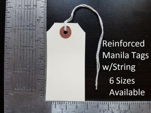 Manila Tags With String Hang Shipping Label Scrapbook Strung Sizes 1 2 3 4 5 6