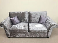 Nearly New MUST GO, REDUCED TO CLEAR. CHEAP CRUSHED VELVET 3 SEATER SILVER FABRIC SOFA