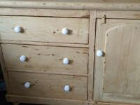 Antique Victorian Pine Kitchen Pantry Cupboard Sideboard with Deep Drawers