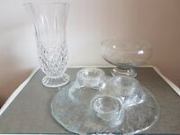 3 assorted vases & tea light holder