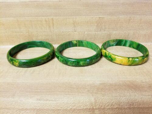 3 Vintage Green/Yellow Marbled Bakelite Bangle Bracelets  409 & Hot Water Tested
