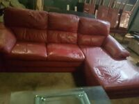 Red Sofa in excellent condition includes foot rest