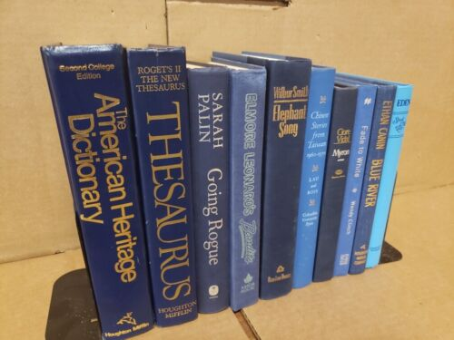 Lot of 6 Hardcover BLUE NAVY AQUA TEAL Shades Books for Staging Prop Decor
