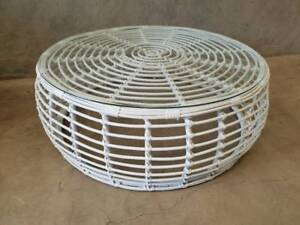 Barbados Coffee Table in Arctic White Wicker with Glass Top Loganholme Logan Area Preview