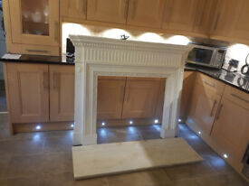 BEAUTIFUL FIREPLACE FOR SALE. COMES WITH MARBLE HEARTH AND MARBLE SURROUND