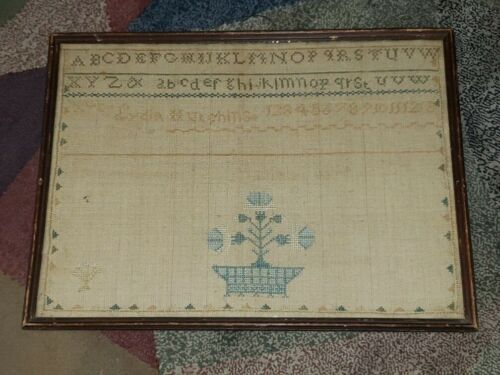Antique Early sampler by lydia Hutchins - framed with glass