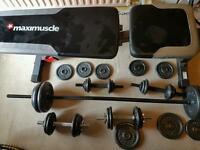 Maximus incline bench,weights and kettlebells