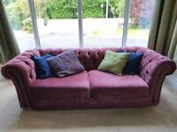 Chesterfield pink velvet sofa 3 and a 2 seater cost £2250