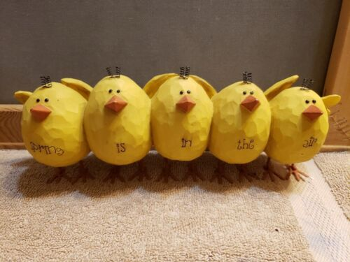 5 Yellow Chicks Easter Spring Is In The Air Heavy Resin B B. Lloyd 2005