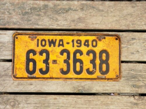 Vintage 1940 Iowa License Plate MARION COUNTY #63 3638