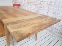 Hardwood Dining Table with Drawer - Space Saving Extending Mid-Century Modern Living