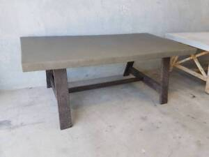 NEW YORK DINING TABLE - CEMENT TOP IN CHARCOAL Loganholme Logan Area Preview