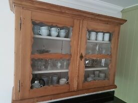 Gorgeous antique wooden cabinet, glass front, good condition, comes with key, content not included!