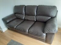 Dark Brown Leather Sofas x 2 & Footstools x 2