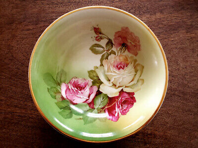 pink roses 1900 Bavarian handles candynuttrinket bowl excellent condition,collectible Edwardian art Nouveau hand painted china bowl