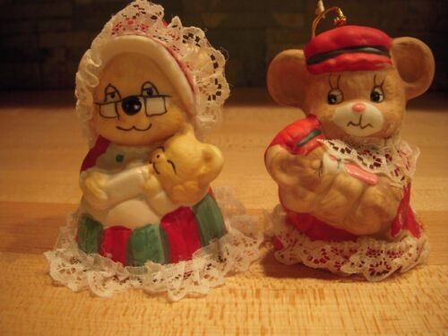 Pair of Vintage JASCO Caring Critters Chimers Christmas Bell Ornaments