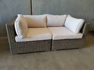 Ascot 2 Piece Lounge in Loom Wicker with Seashell SpunPoly Fabric Loganholme Logan Area Preview