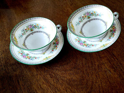 MINTON CHINA STANFORD 2 X FOOTED CUPS & SAUCERS FLORAL PATTERN B1112