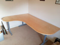Extended IKEA Galant Office Desk - Adjustable Height. 2.5 Sq m of Desk Space!