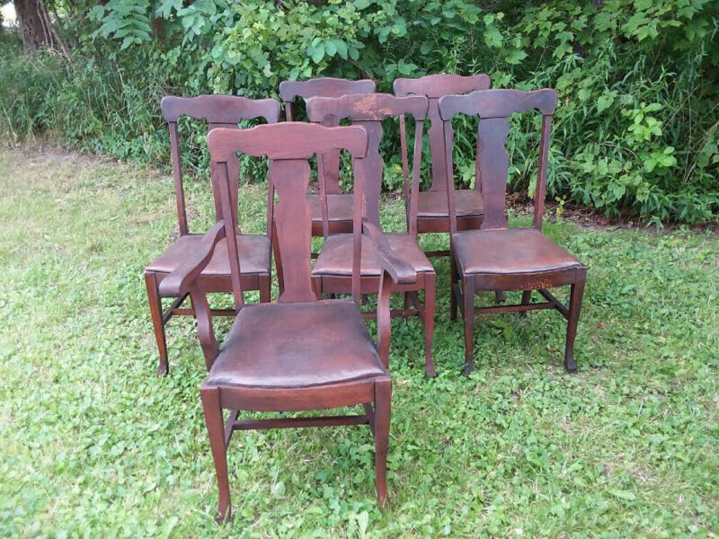 Antique Oak Mission Style Dining Room Chairs (6)