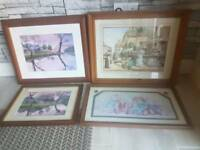 4 wooden frame wall pictures all in good condition
