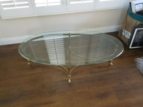 Mid Century Labarge Brass Coffee Table, Brass Coffee Table