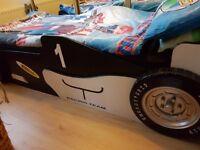 KIDS RACING CAR BED, LIKE NEW