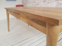 Extending Mid-Century Modern Living Hardwood Dining Table with Drawer - Space Saving